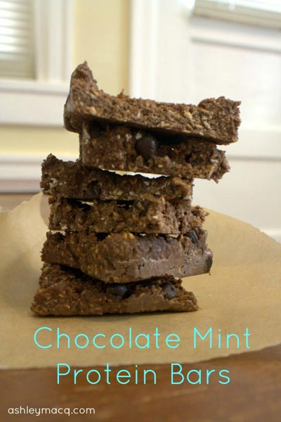 Easy chocolate mint protein bars